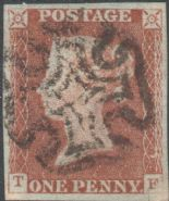 1841 1d Red SG8 Plate 21 'TF' CV
